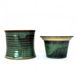 Beurrier à eau cintré, lignes gravées, brun vert